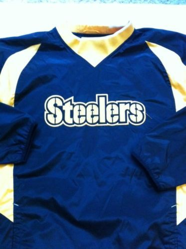 Reebok NFL Pittsburgh STEELERS Men's Team Apparel Stitched Pullover Jacket Large