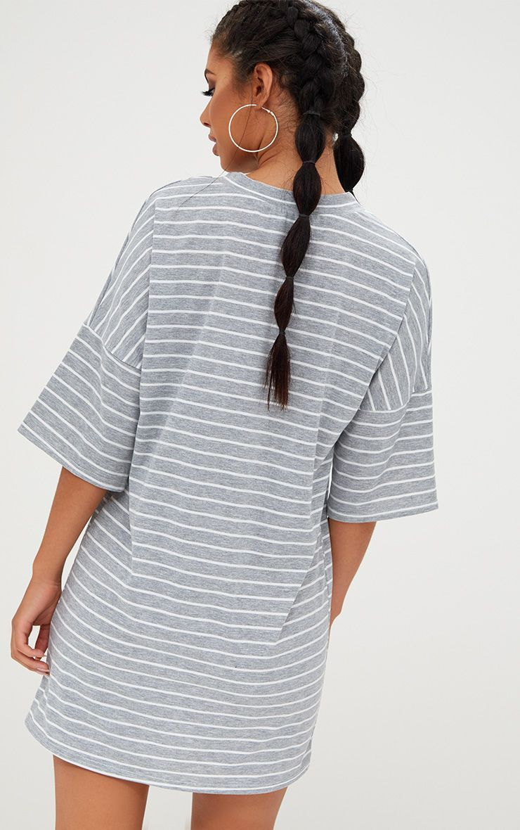 66612f6e7ce4 Grey Striped Oversized T Shirt Dress in 2019 | Products | Oversized ...