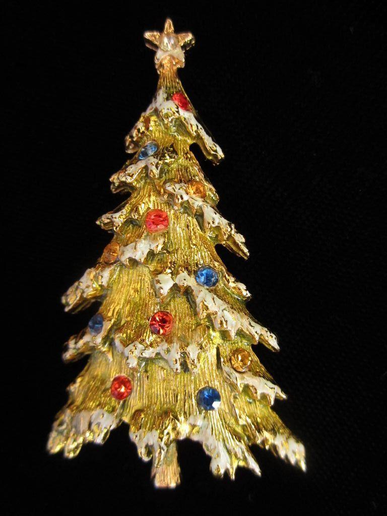 Vintage Art Enamel Rhinestone Christmas Tree Pin Brooch Jewelry Christmas Tree Christmas Bling Christmas Jewelry