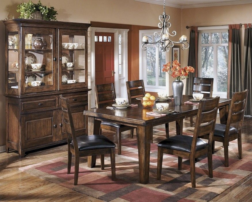 Rustic 8 Piece Dining Room Set Dark Brown Dining Room Bench