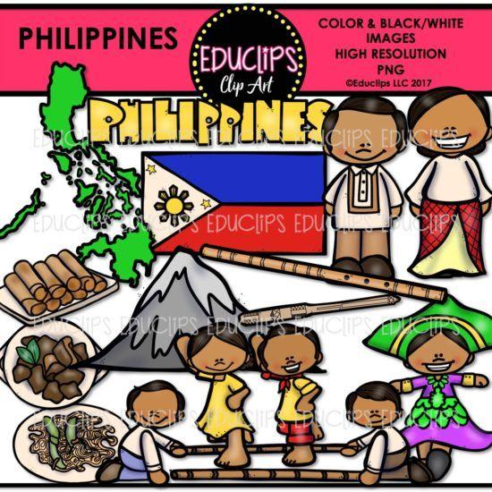 Philippines Clip Art Bundle Color And B W Edu Clips Art Bundle Clip Art Word Art Sign