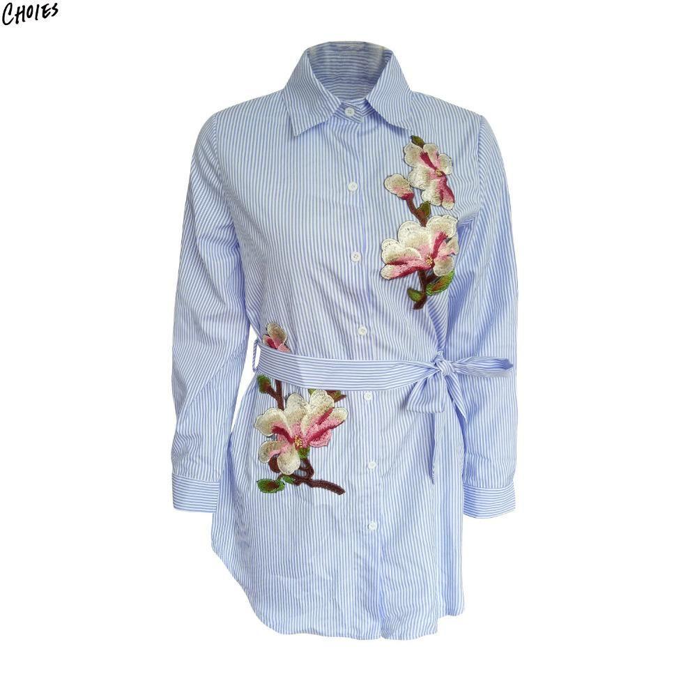 Blue stripe floral embroidered shirt dress women tied high waist