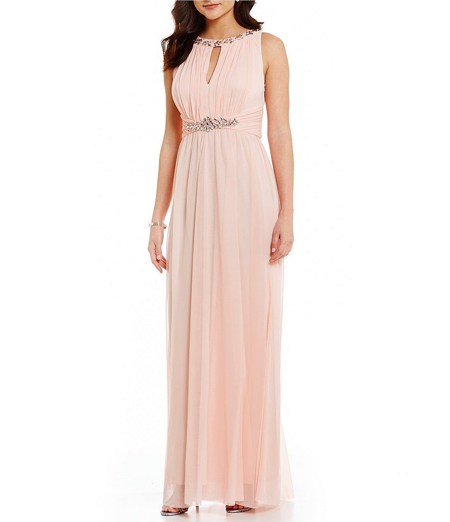 Jessica Howard Shirred Keyhole Bead-Trim Gown | Mother of the Bride ...