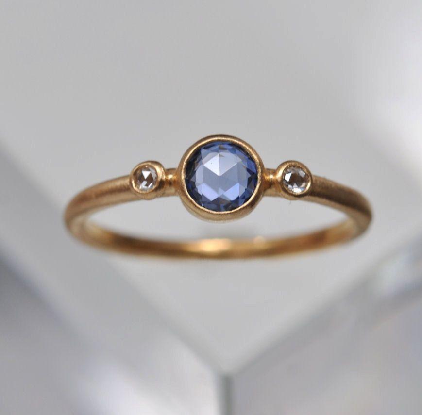 Sapphire & Diamond ring - 18k gold. $990.00, via Etsy.