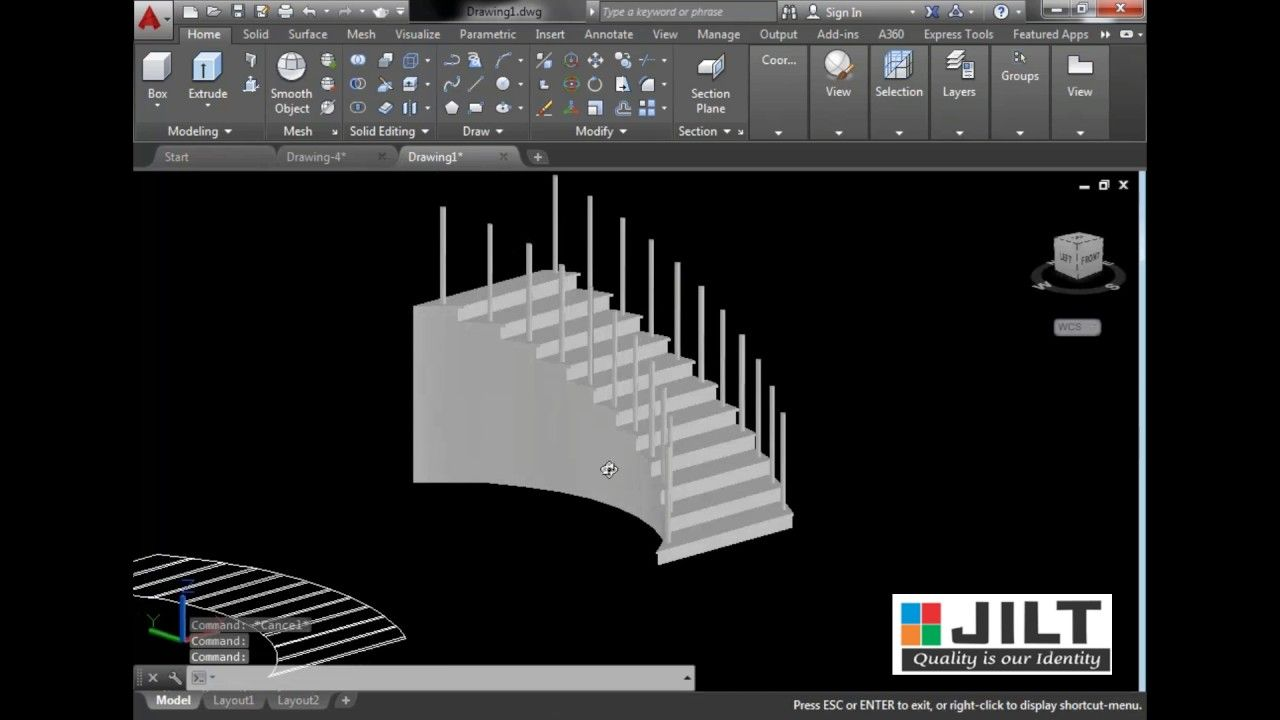 Autocad 3d Staircase Design In Dual Curved Staircase With Commands Autocad Staircase Design Curved Staircase
