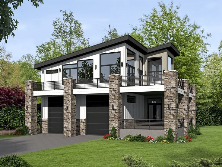 062G-0101: Modern 2-Car Garage Plan with Apartment in 2019 ...