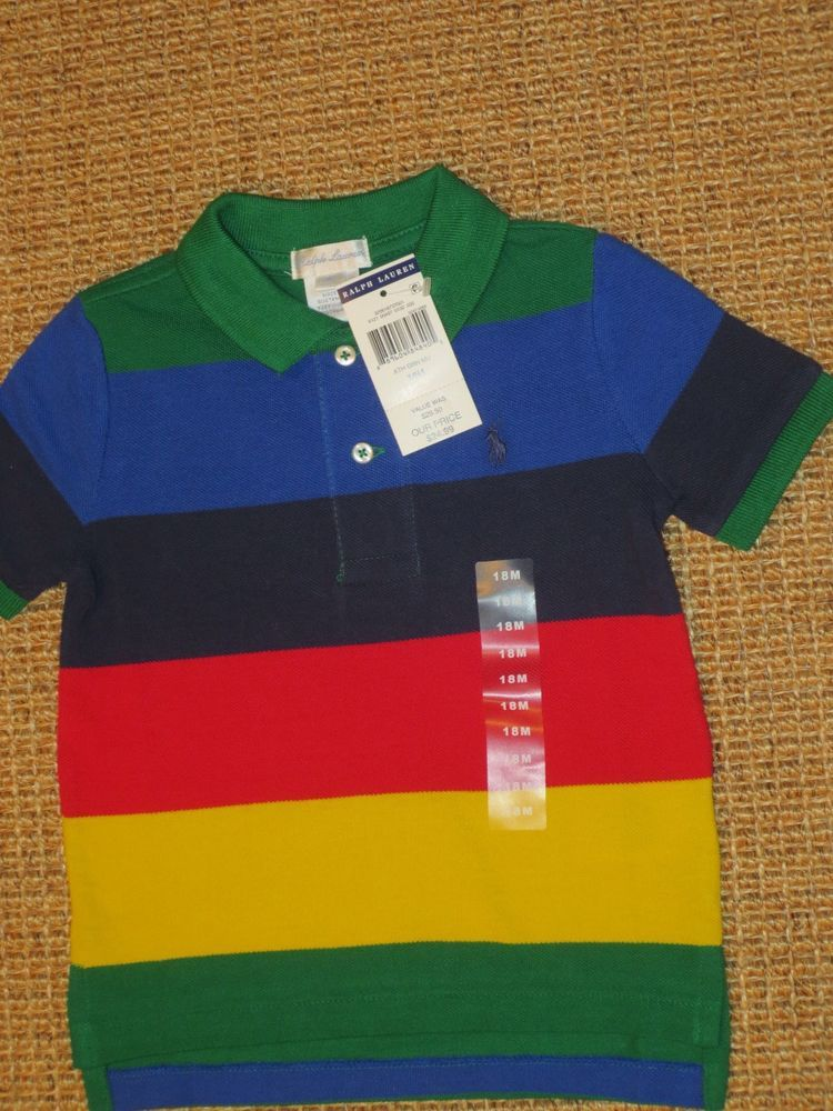 54729eef5 RALPH LAUREN TODDLER BOY 18 MONTHS POLO SHIRT COLOR BLOCK NEW ...