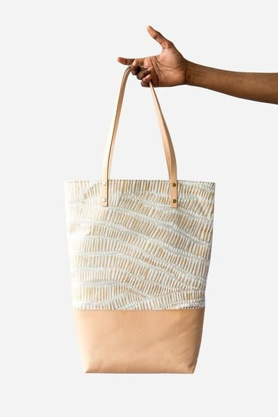 Linen with Leather Tote Bag - Fish Net | Q u a l i t y ~ p ...