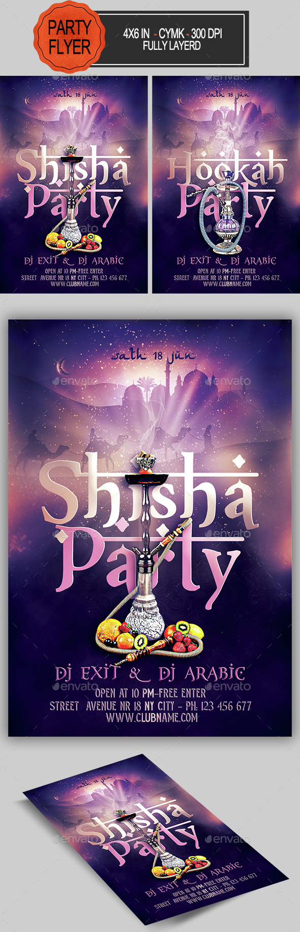 Hookah Shisha Flyer  Flyer Template Fonts And Template