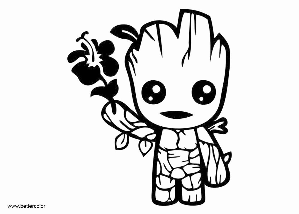 Baby Groot Coloring Page Free