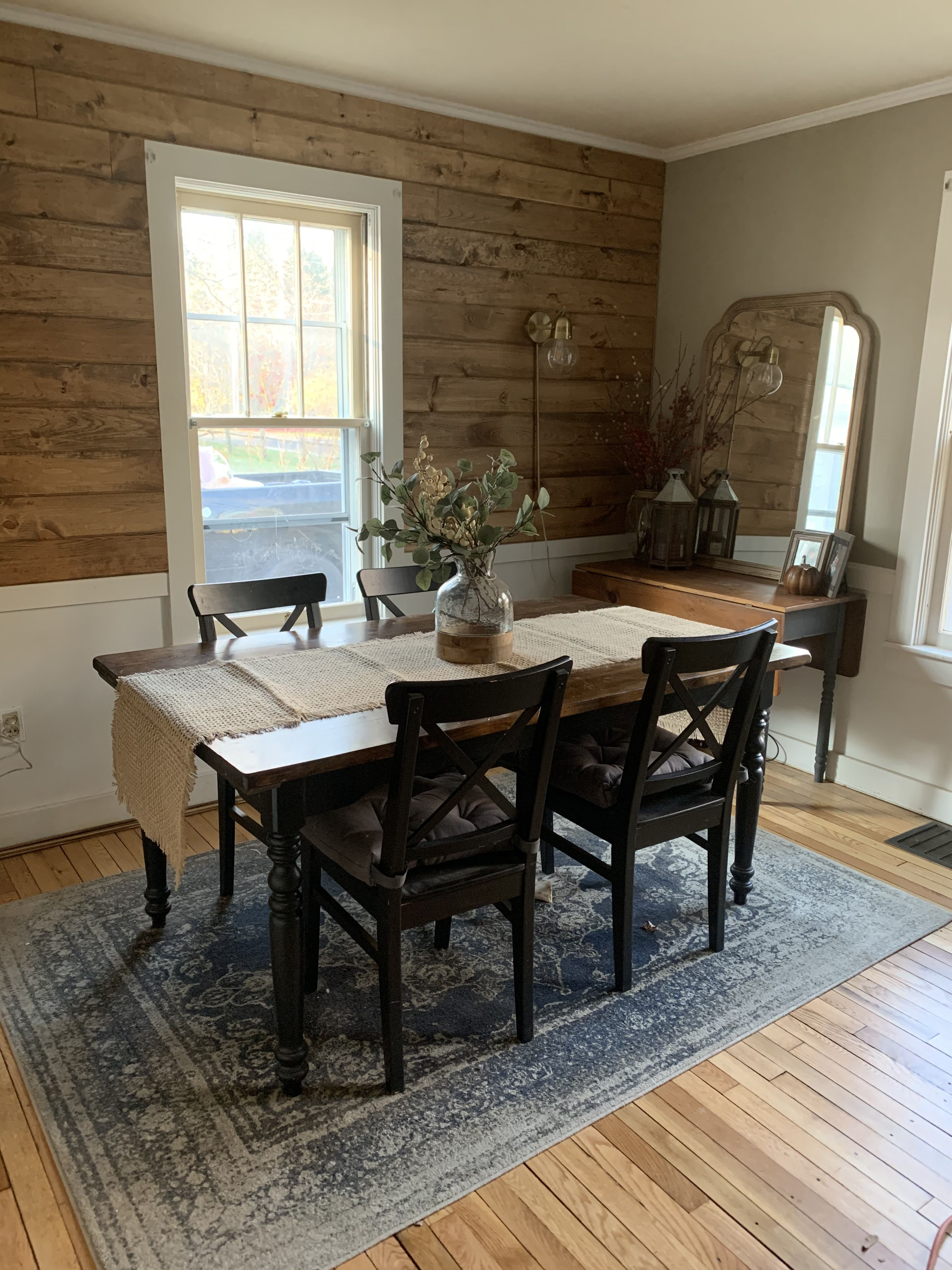 stained shiplap with chair rail dining room makeover