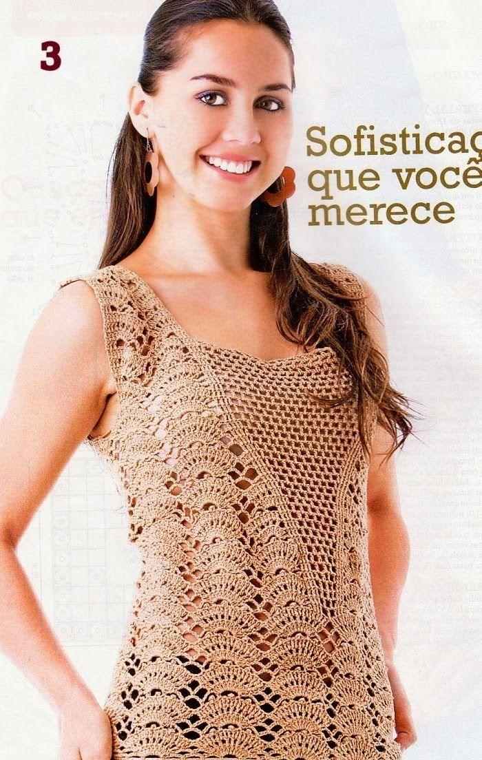 Top punto abanico escote de red - Patrones Crochet | Poleras, blusas ...