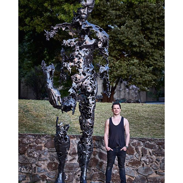 """""""Johannesburg-based artist Regardt van der Meulen has finished his latest sculpture, called """"I am just the pieces,"""" which stands 13 feet (4 metres) tall."""