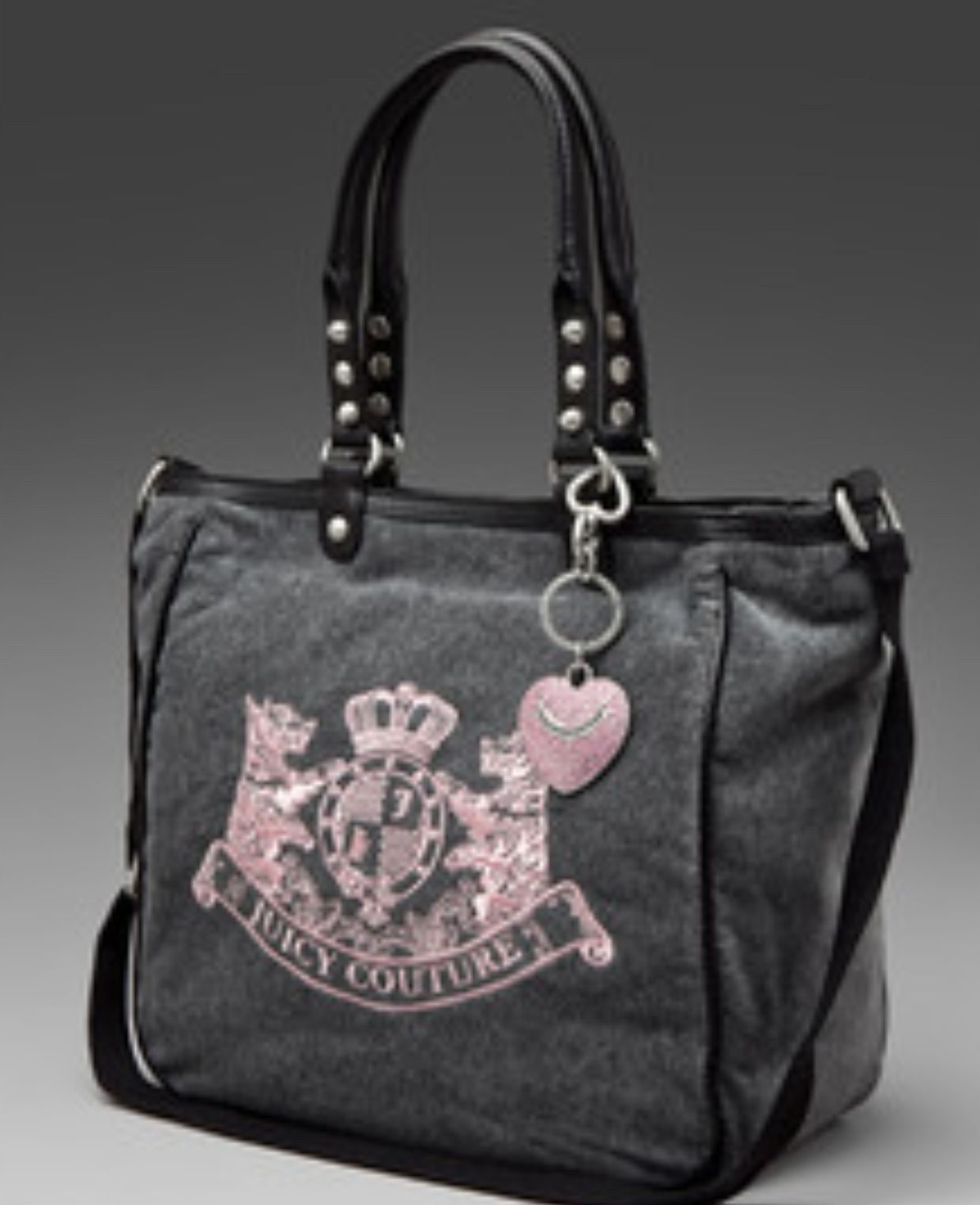 NEW Juicy Couture Velour Scottie Embroidery Heart Charm Bag Tote Nardles 2bba38777