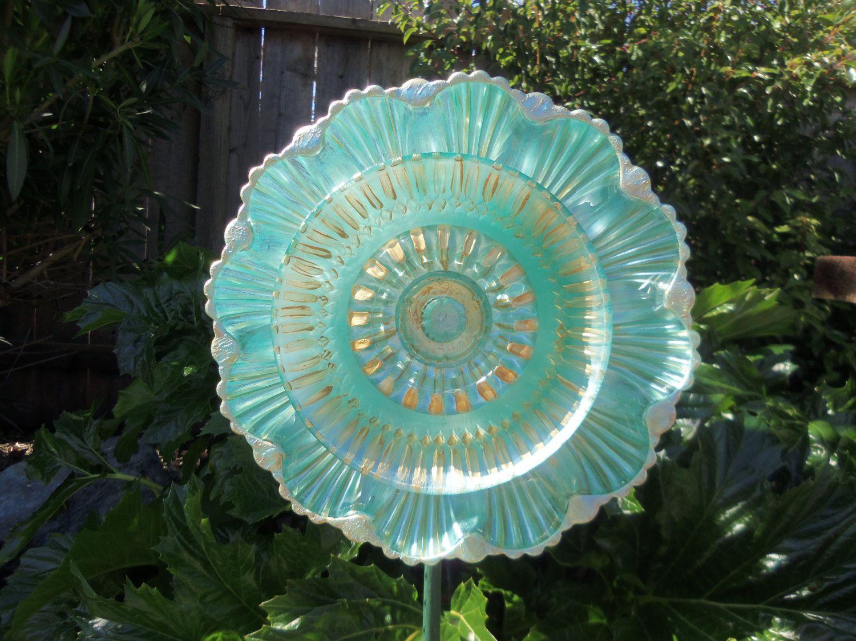 Garden Art - Glass Plate Flower Hand Painted in Aquarium & Gold ...