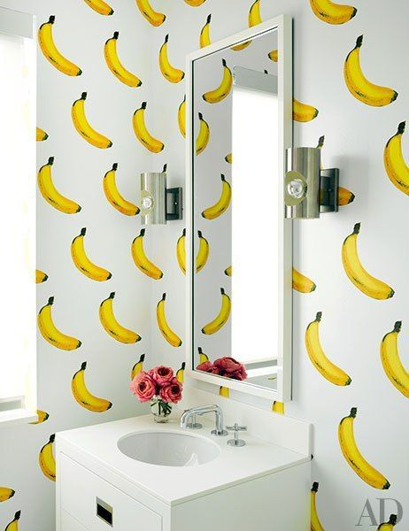 Fashion designer tommy hilfigers vibrant home in miami architectural digest bathroom wallpaper