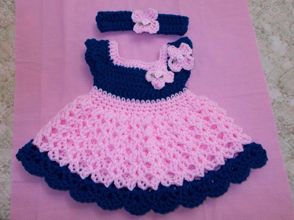 SALE Handmade Crochet BABY DRESS HEADBAND-BOOTIES PINK by ROCKY MOUNTAIN MARTY