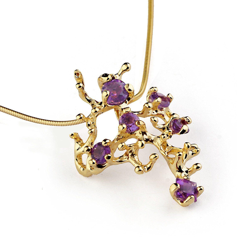 K yellow gold natural genuine purple amethyst gemstone coral reef