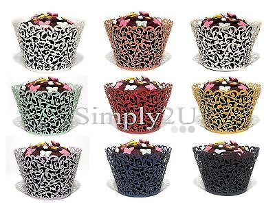 12/25/50/100x filigree vine #cupcake wrappers #cases #laser cut wedding birthday,  View more on the LINK: http://www.zeppy.io/product/gb/2/321460403376/