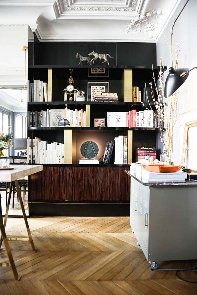Luxe modern open shelving with black walls and chevron flooring on Thou Swell @thouswellblog
