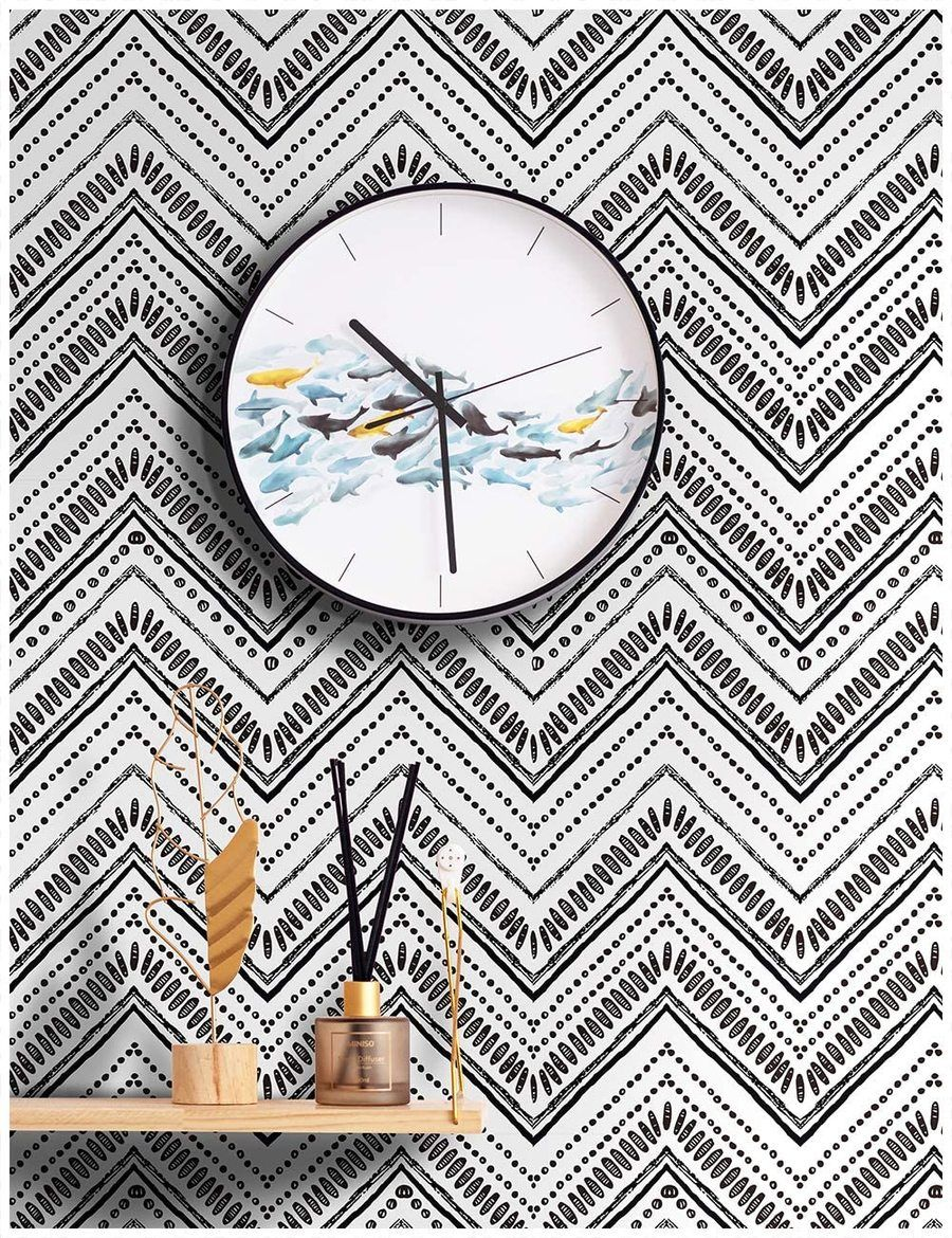 Black Oval Removable Wallpaper Peel And Stick Wallpaper Removable Wallpaper Zig Zag Wallpaper