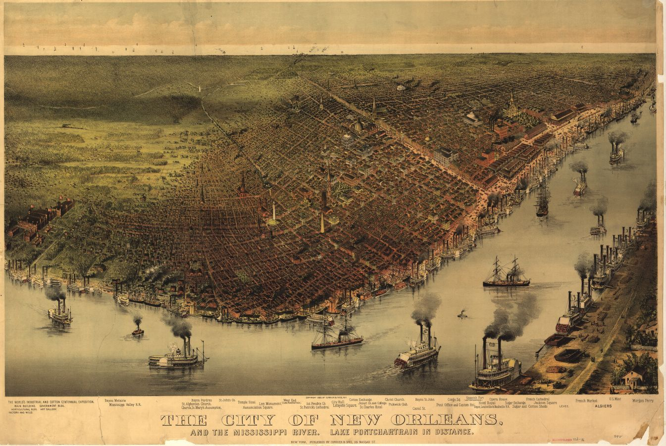 Birdseye View Of New Orleans With The Mississippi River In The - Map of new orleans rivers