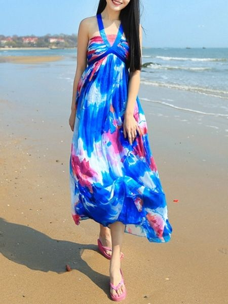 Charming  Halter Blended  Maxi-dress Maxi Dresses from fashionmia.com