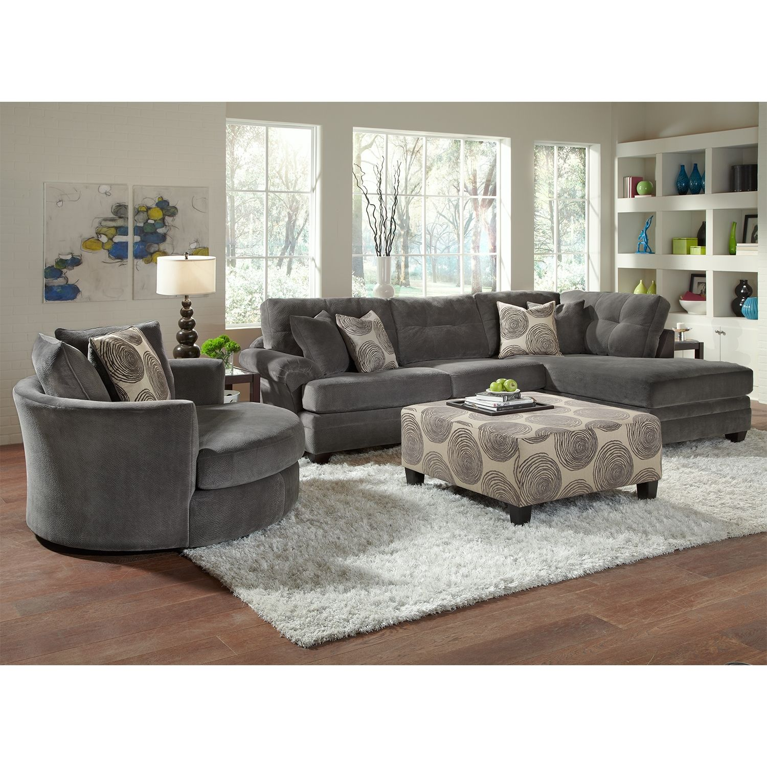 American Signature Furniture   Cordoba Upholstery Collection  love the  round chair. Catalina Gray Upholstery 2 Pc  Sectional   Furniture com   Home