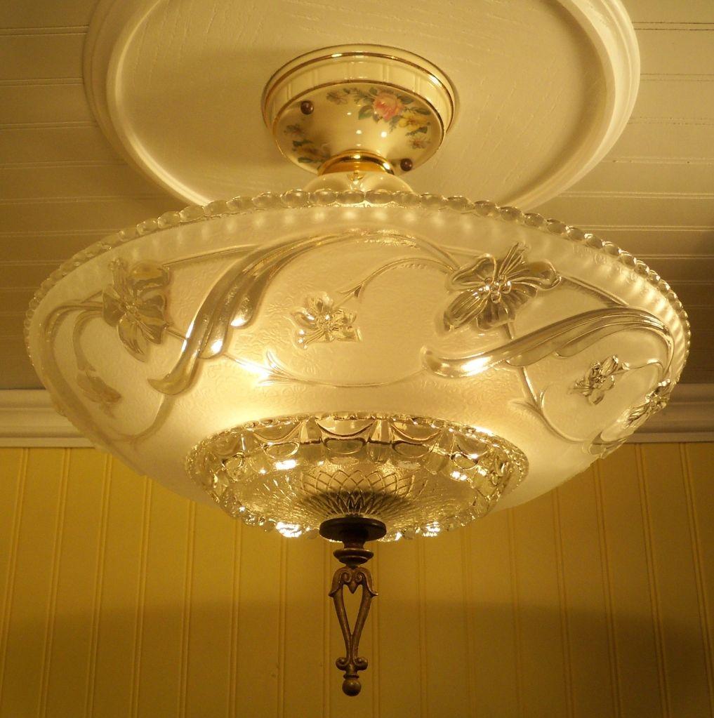 Vintage Ceiling fixture Chandelier Lighting 1930s porcelain fixture by Porcelier
