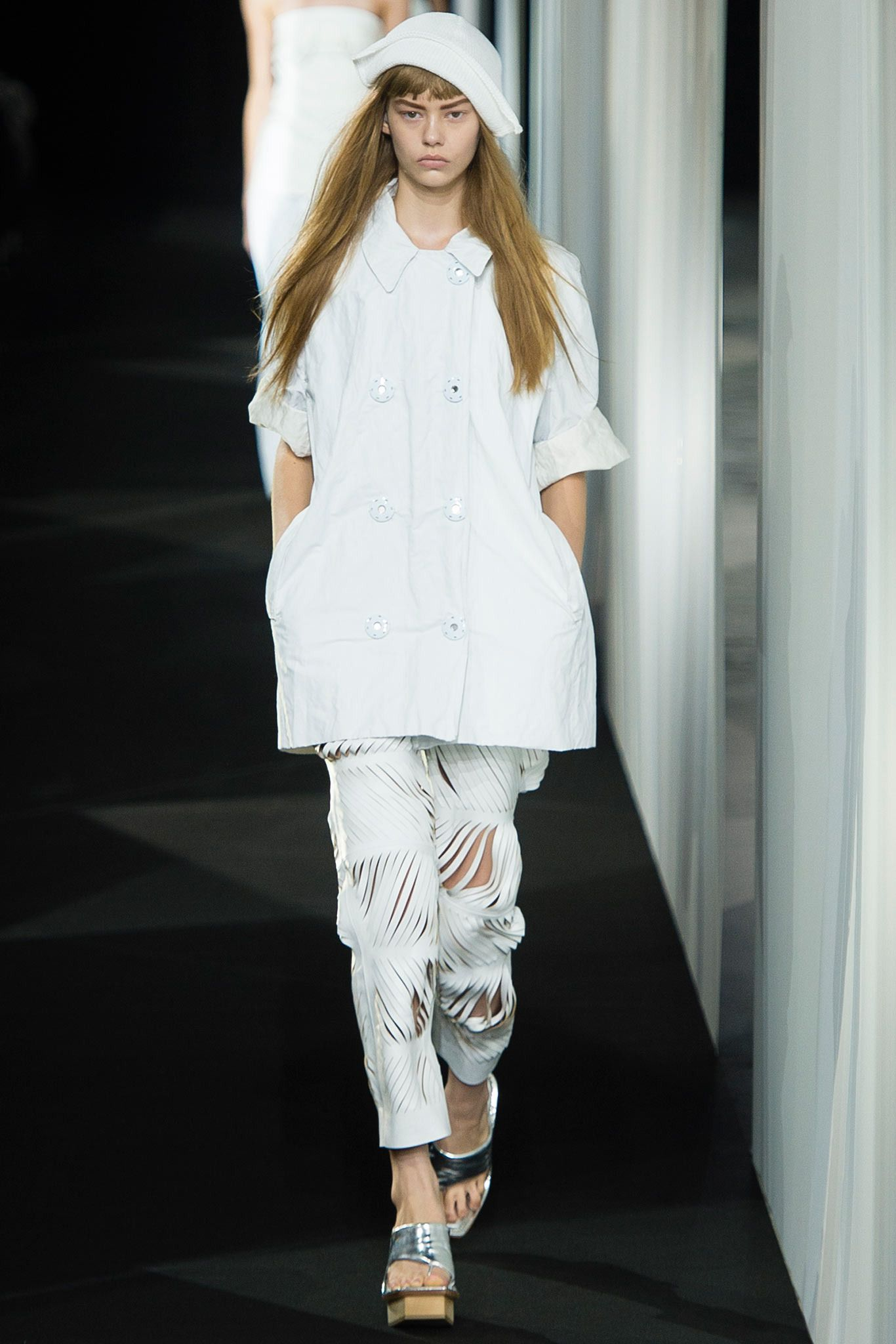 Look 3 Acne Studios Spring 2014 PFW white leather