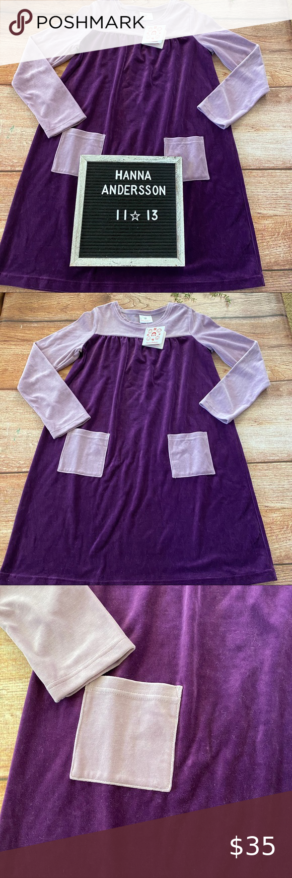 Hanna Andersson NWT purple dress 150 11-13 years New with tags two tone purple Hanna Andersson velvet dr de with front pockets. Size 150 or 11-13 years (J0826) Hanna Andersson Dresses
