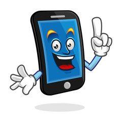 Got An Idea Smartphone Character Vector Of Cellphone Mascot Mobile Phone Cartoon Cute Clipart Phone Character Design