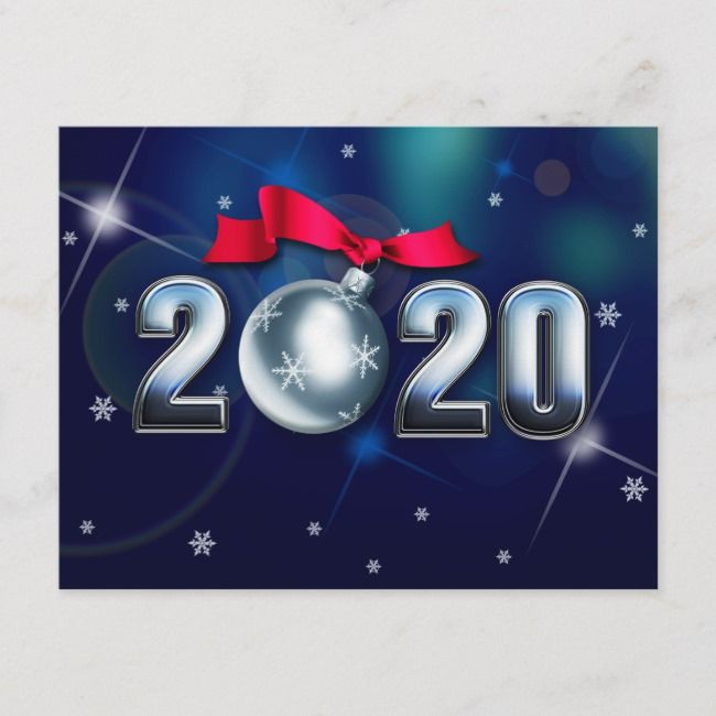 Happy New Year 2020. Christmas Bauble Holiday Postcard