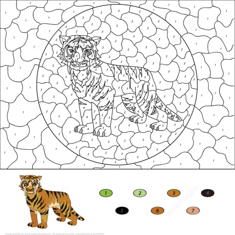 Saber Toothed Tiger Color By Number Coloring Page Free Printable Coloring Pages Free Printable Coloring Pages Animal Coloring Pages Coloring Pages