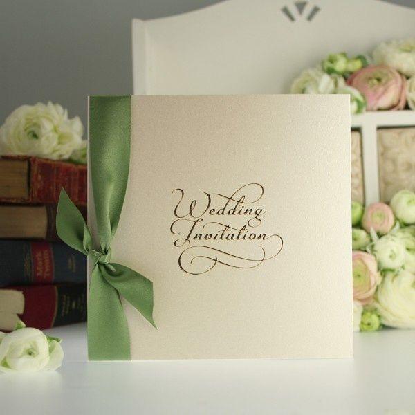 Cream Green Wedding Invitation