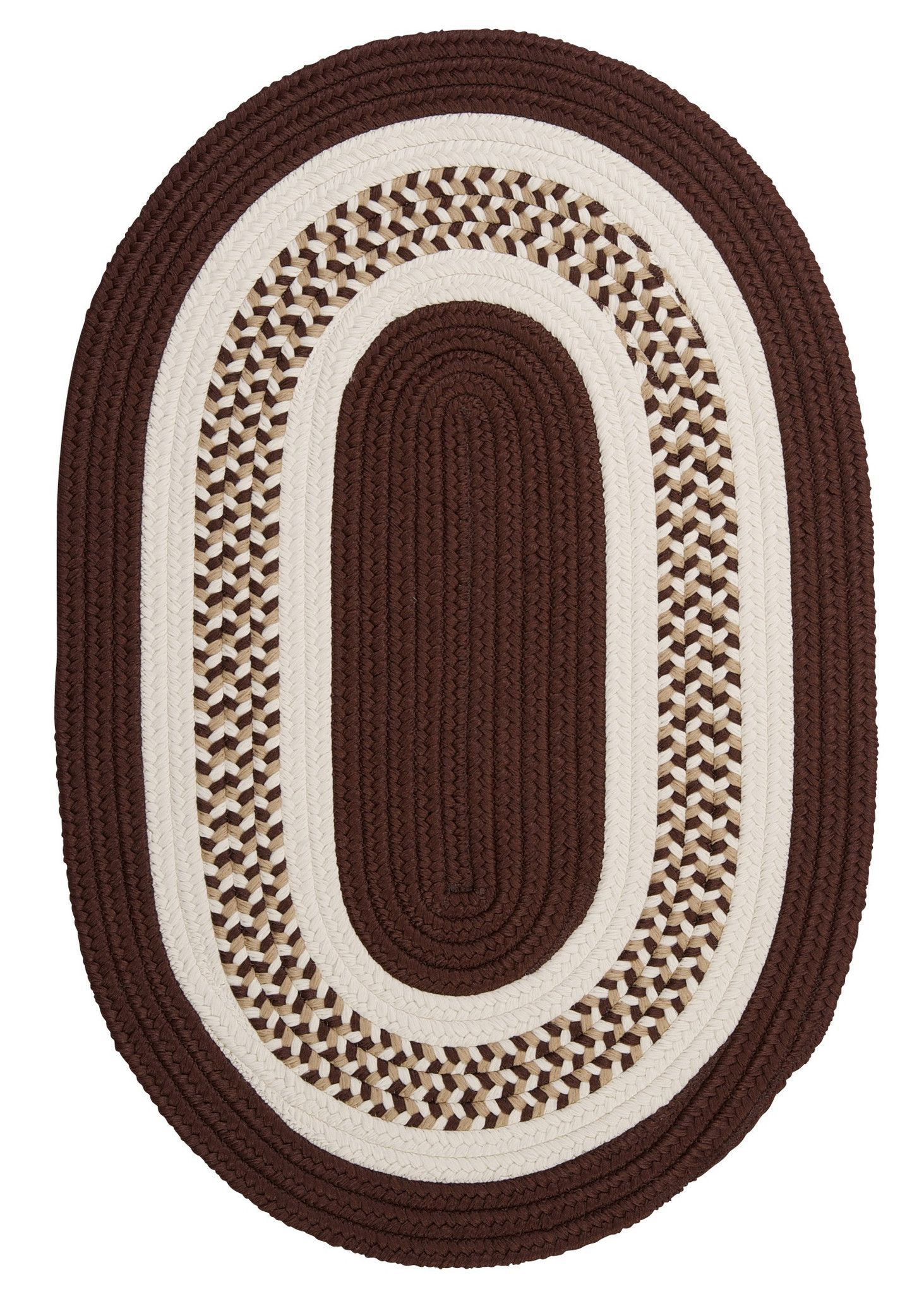 Flowers Bay Indoor Outdoor Oval Braided Rug Fb81 Brown