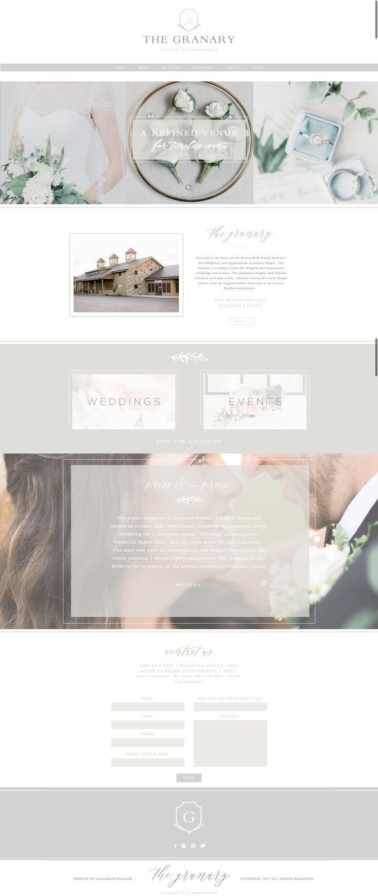 The Granary Website By Alisabeth Designs Wedding Venue Branding Ethereal Feminine Rustic Web Design Logo Feminine Web Design Feminine Website Design