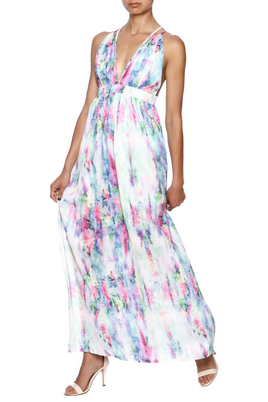 Flowy Chiffon Watercolor Print Maxi Dress With Stry Detail Back And Adjule Straps Water Paint By L Atiste
