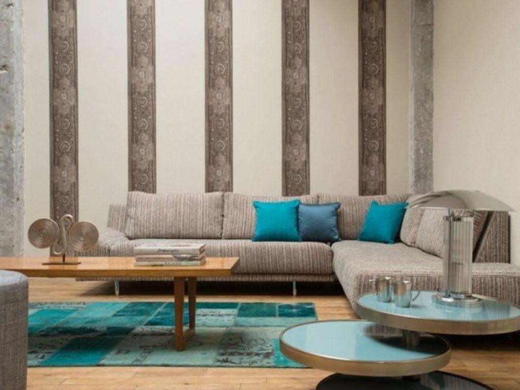 moderne wohnzimmer tapeten modernes wohnzimmer blaue akzente deko ...