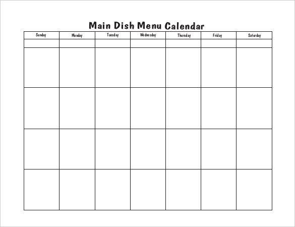 blank school lunch menu template blank menu calendar