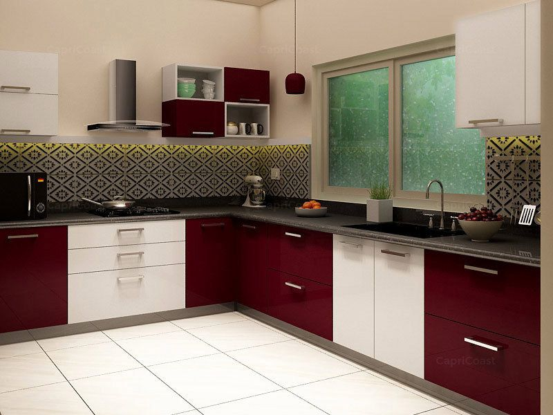 Maroon And White Modular Kitchen L Shaped Modular Kitchen Kitchen Interior Kitchen Design