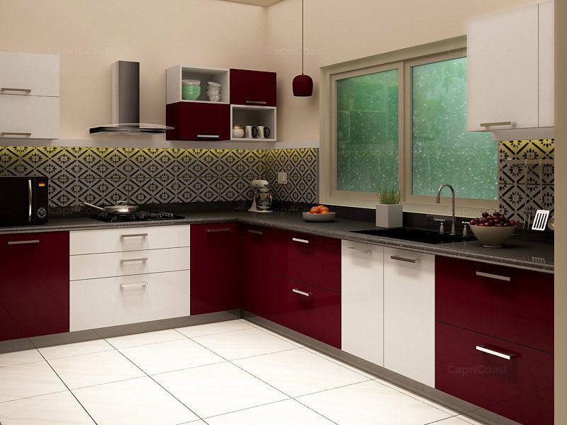 Maroon And White Modular Kitchen Google Search Interior Design