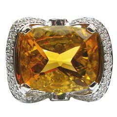 Citrine Diamond Cocktail Ring
