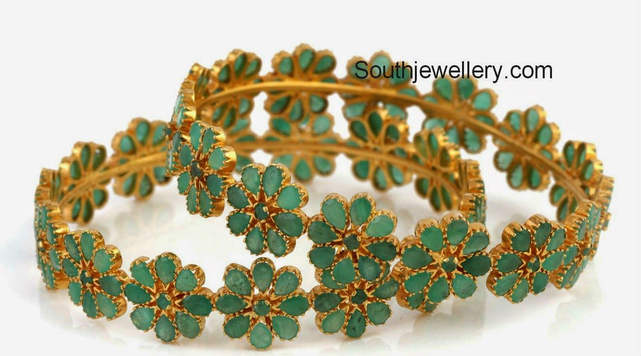 bangles jewellery designs elegant diamond emerald uncut