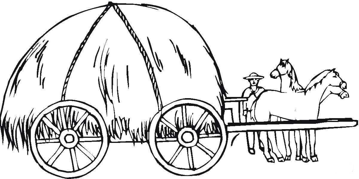 Hay Wagon Coloring Page Desenho De Carroca De Feno Para Colorir