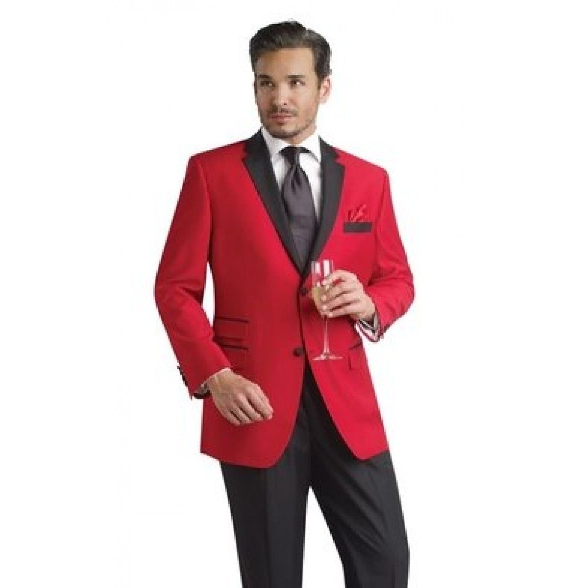 home red tuxedo jacket black trousers contemporary styling ...