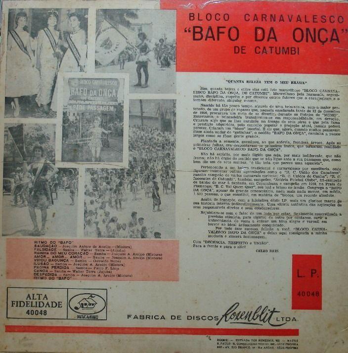 LP Bafo da Onça - Contra Capa