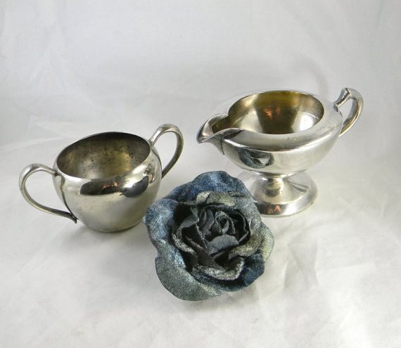 Vintage cream and sugar set  silver plate circa by FeliceSereno, $15.00