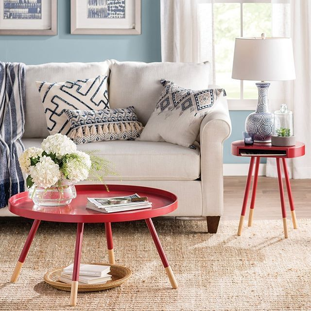 Add energy to  cool toned room with bright red accent furniture these tables are just the right touch wayfair also rh pinterest