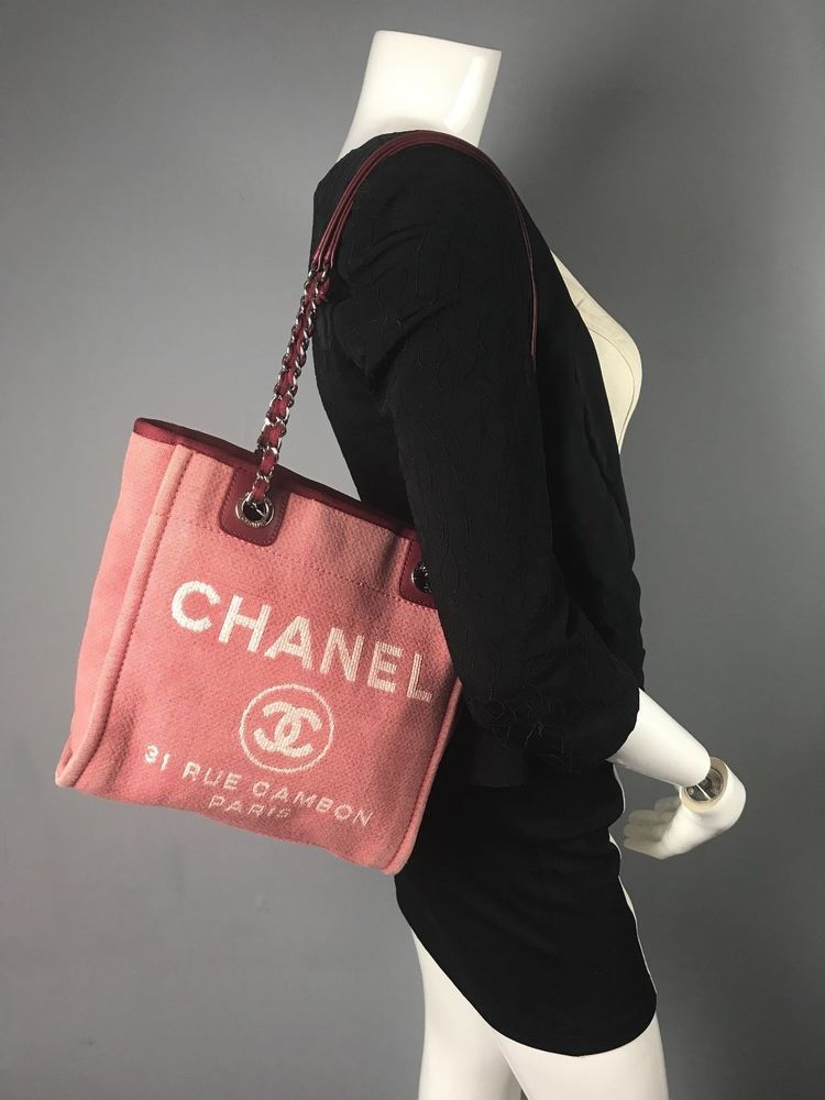 398b179ff62321 Auth CHANEL Canvas Deauville Chain Pink/Red Shoulder Bag Tote Small Free  Ship US #Chanel #ShoulderBag